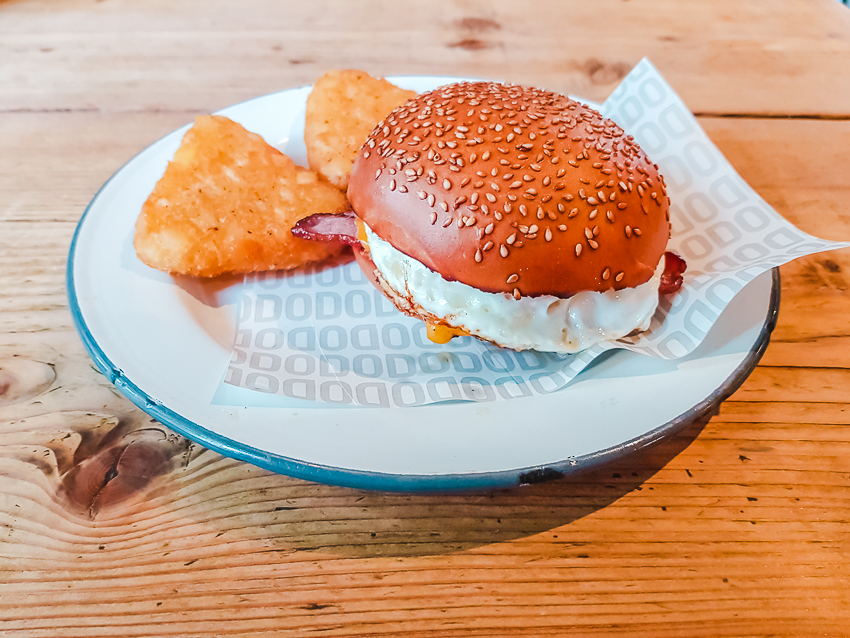 Burger and hash browns at The Rickety Press in Oxford, England