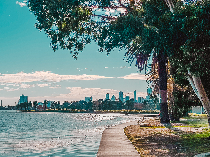 Things to do in Melbourne - go for a walk around Albert Park Lake for skyline views