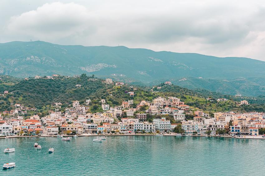 Mainland Greece views from Poros, a Greek island.