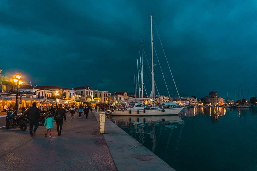 Night time view of waterfront on Aegina, a Greek island.