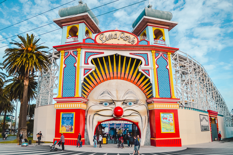 Things to do in Melbourne at night - head to St Kilda and have fun at Luna Park Melbourne.