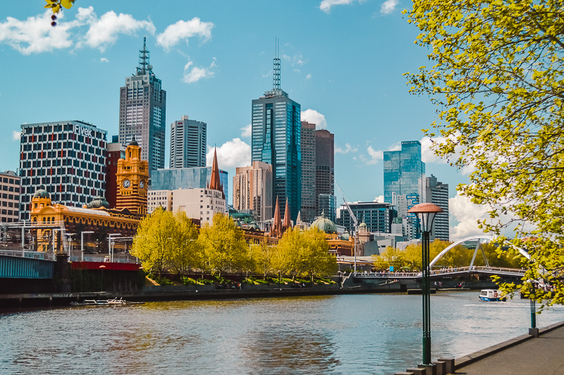 Melbourne City views from Southbank Promenade. Things to do in Melbourne at night: go for a cruise along the Yarra River.