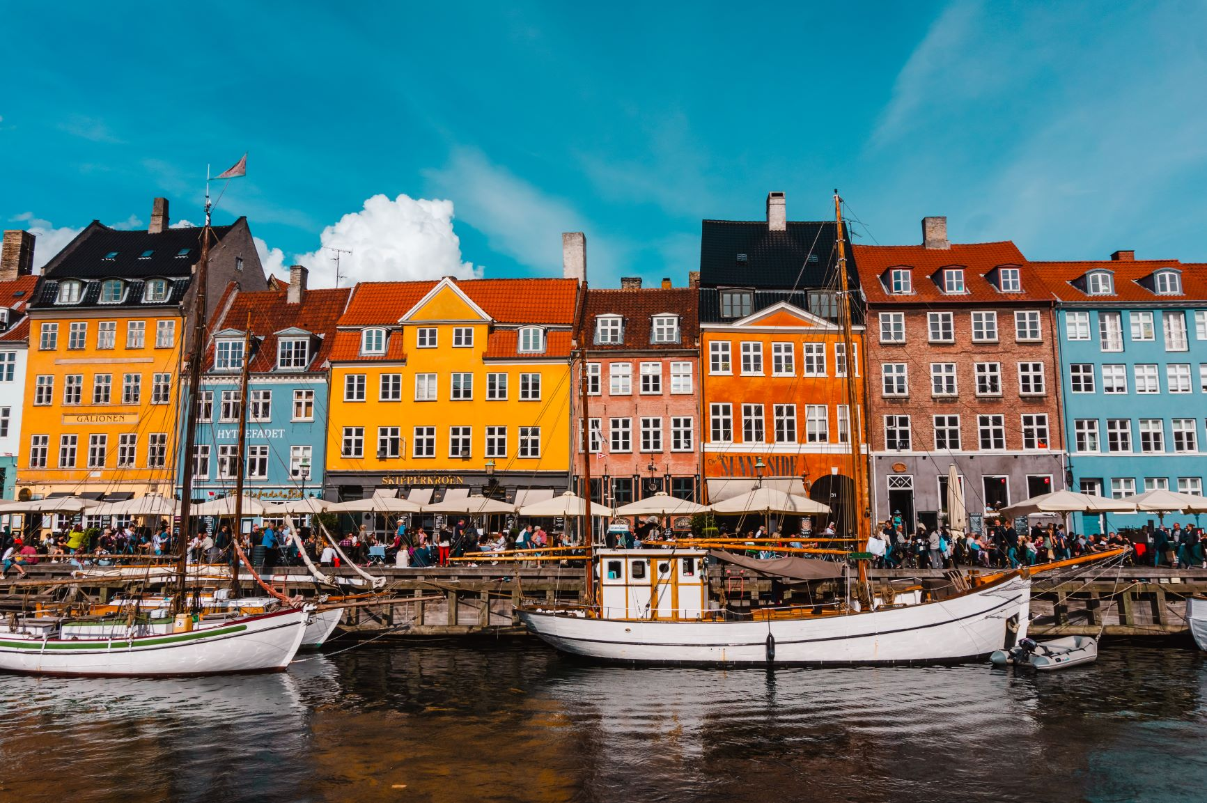 The colourful waterfront buildings of Nyhavn in Copenhagen.
