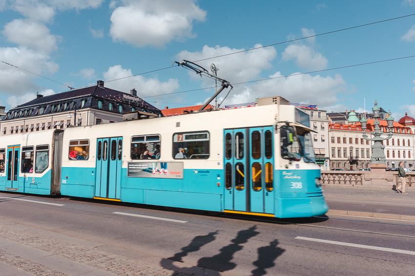 Blue tram in Gothenburg, Sweden
