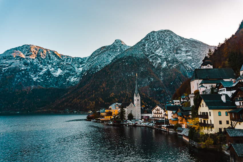 Classic viewpoint overlooking Hallstatt, Austria - one of the best day trips from Salzburg.