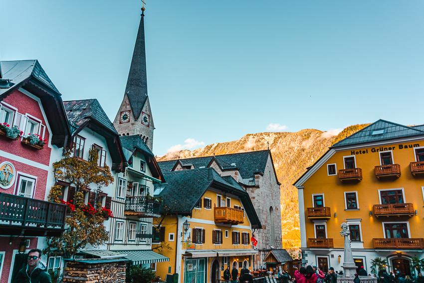 Colourful buildings in the Marktplatz in Hallstatt, Austria