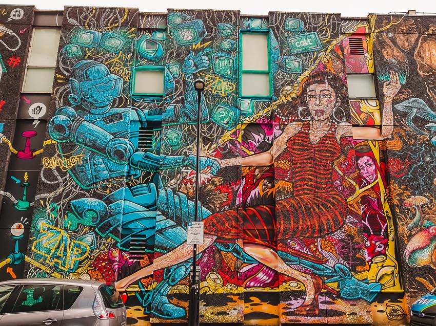 Street art in Shoreditch in London, England