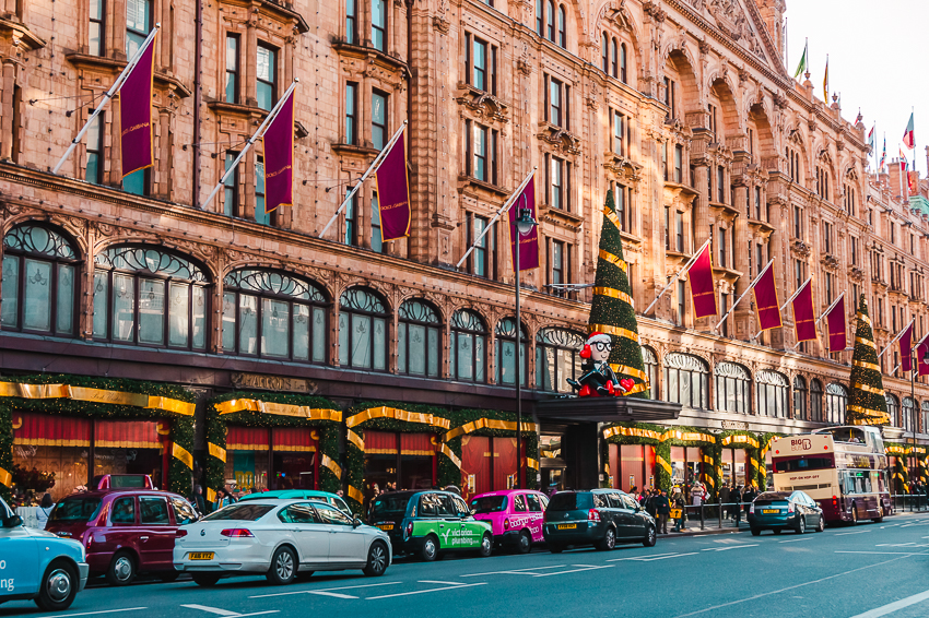 Harrods at Christmas in London, England