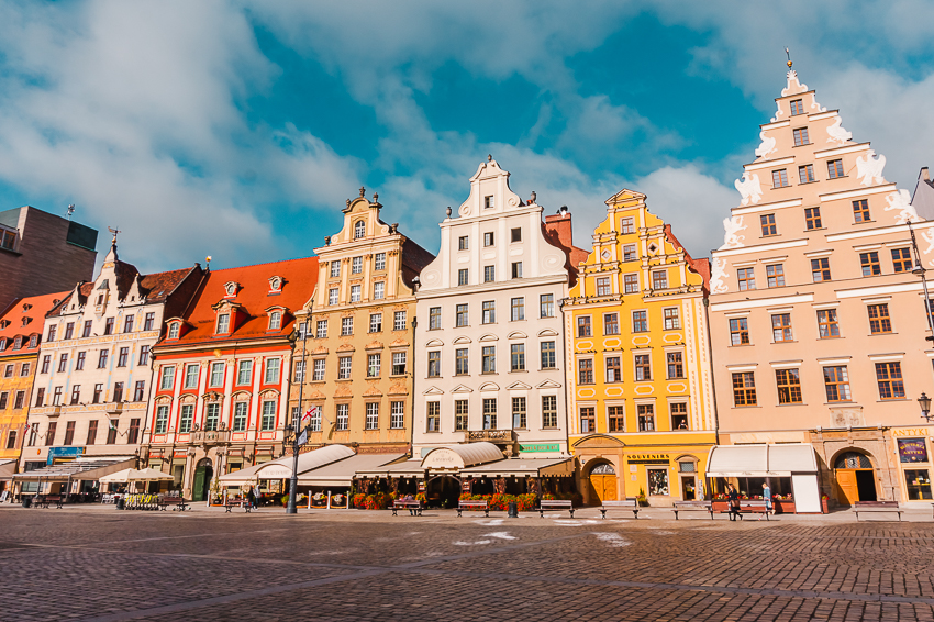 Colourful Old Town buildings in Wroclaw, Poland, another one of Europe's top solo travel destinations.