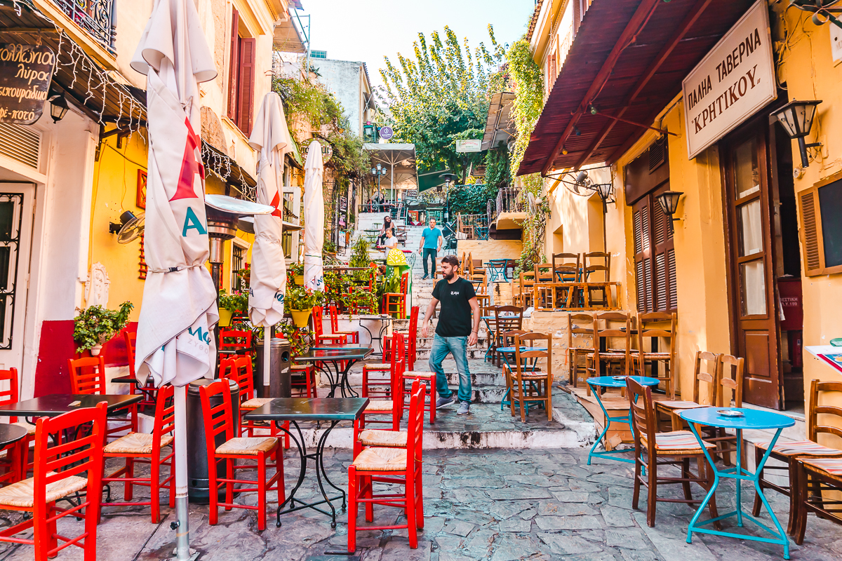 The infamous Plaka Stairs in Plaka, Athens