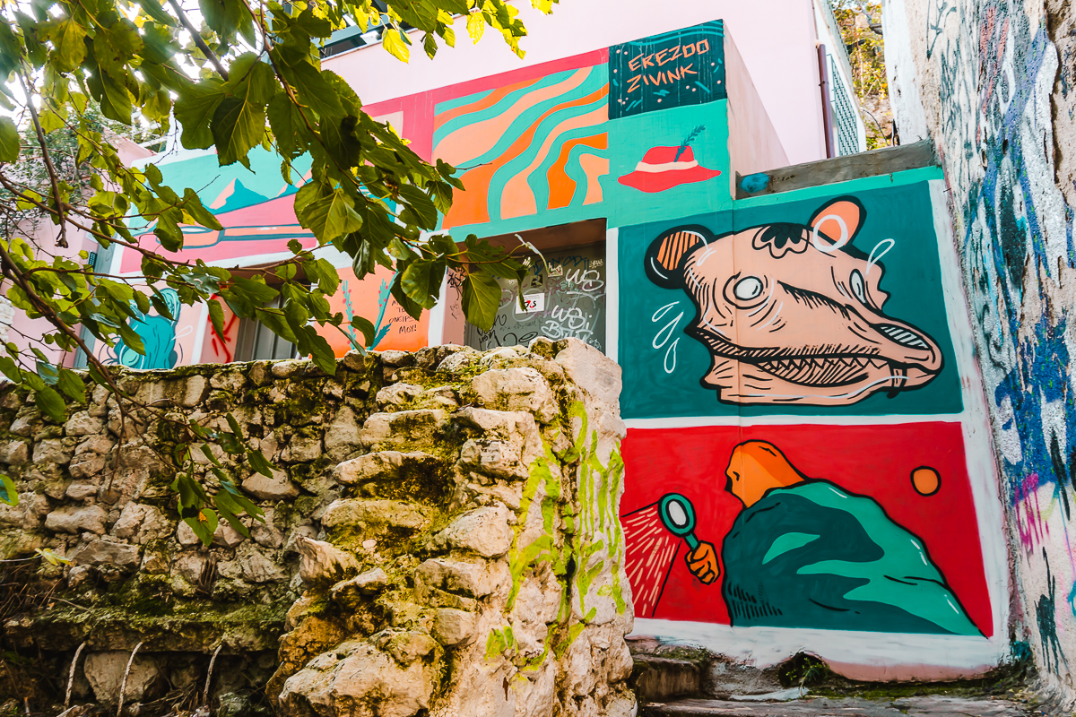 Street art in Anafiotika, a neighbourhood in Athens