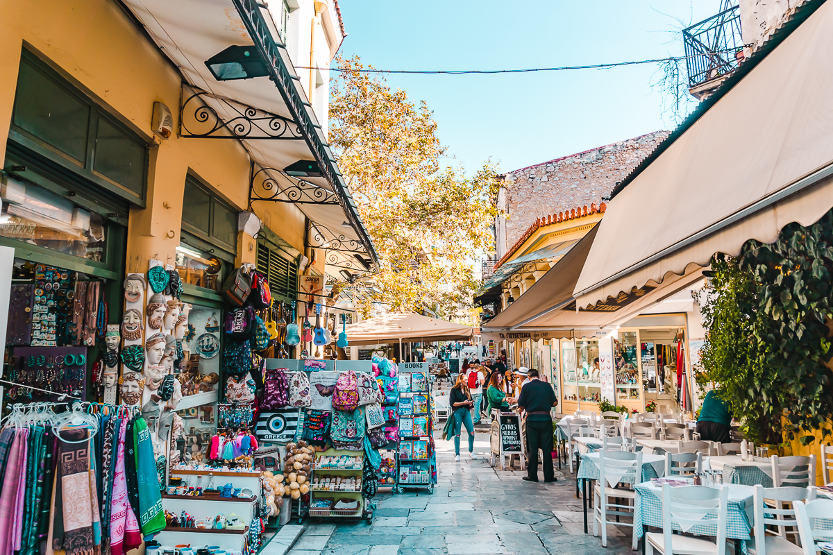 Shops and restaurants in Plaka, Athens