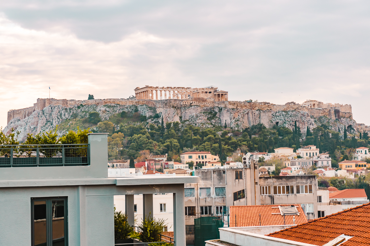 Acropolis views from Mosaikon, one of the best Athens hotels (Europe budget travel tips).