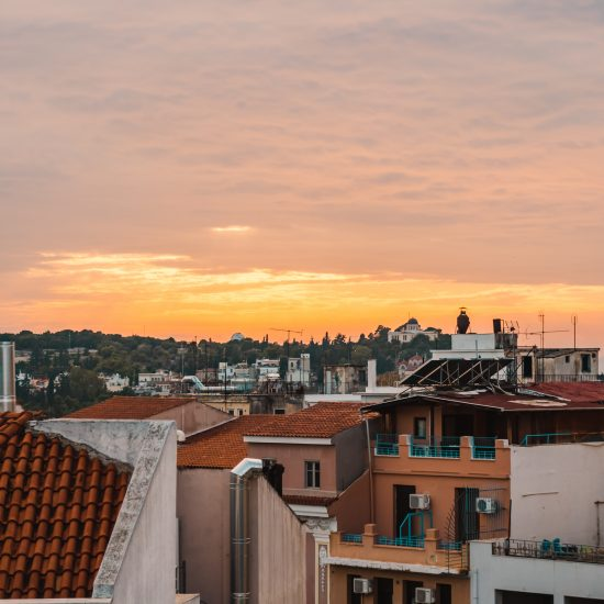 Sunset views from Mosaikon, one of the top-rated Athens hotels