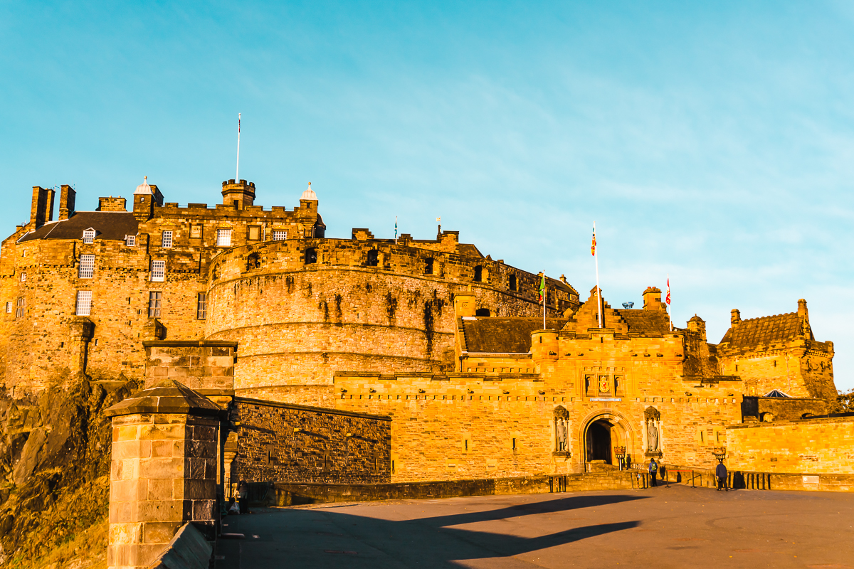 Edinburgh Castle glowing at sunrise