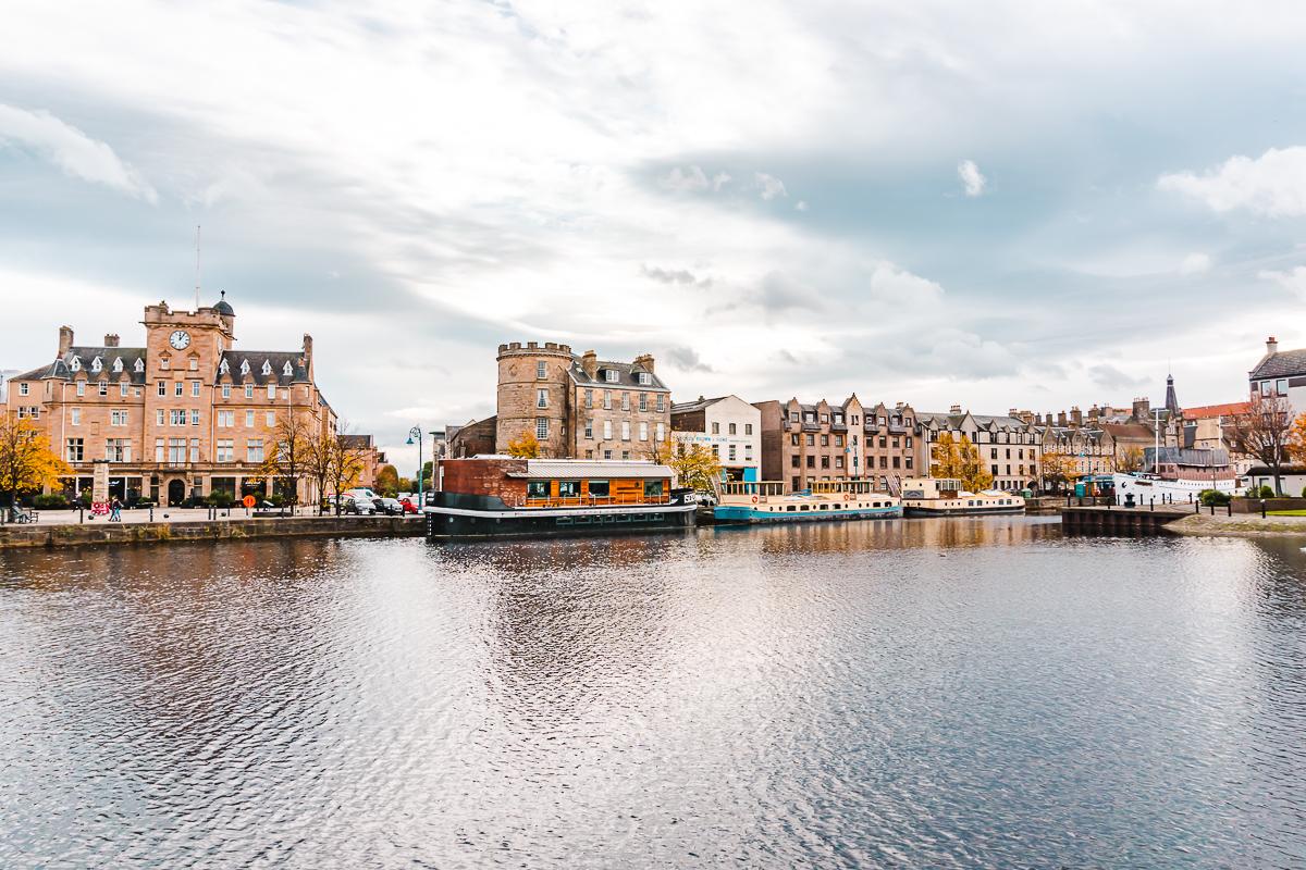 Seaside brick buildings in Leith, a suburb of Edinburgh.