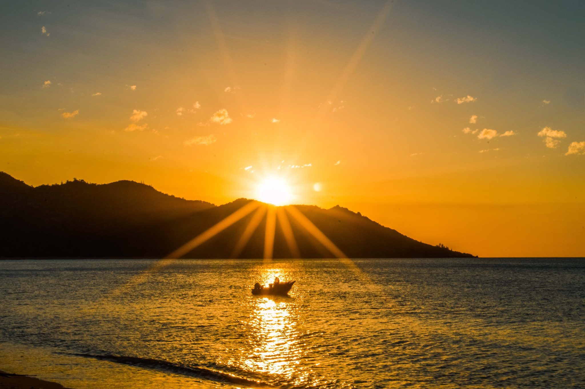 Magnificent sunset over a headland at Horseshoe Bay on Magnetic Island
