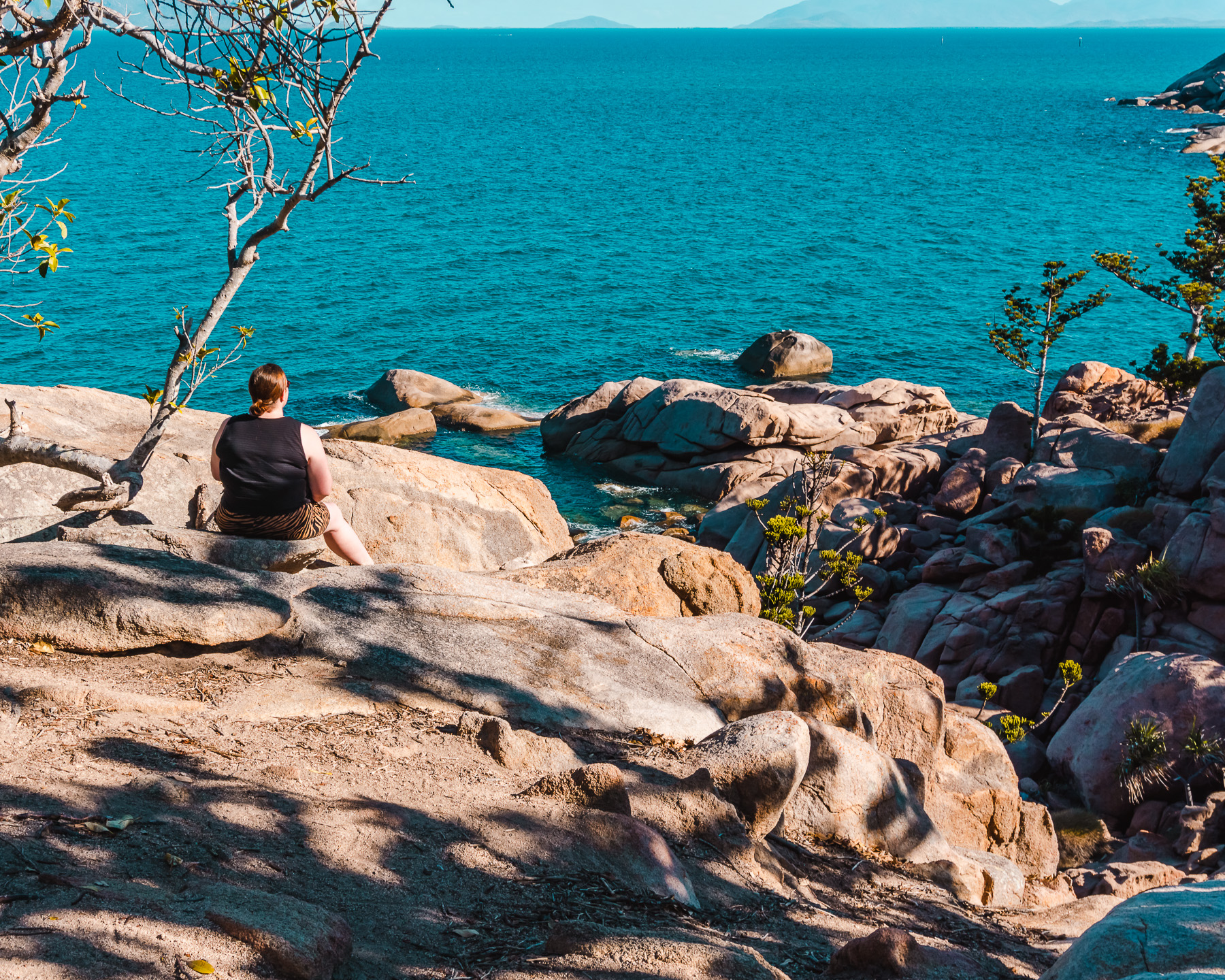 Boulder and blue ocean views from Olympus Crescent on Magnetic Island