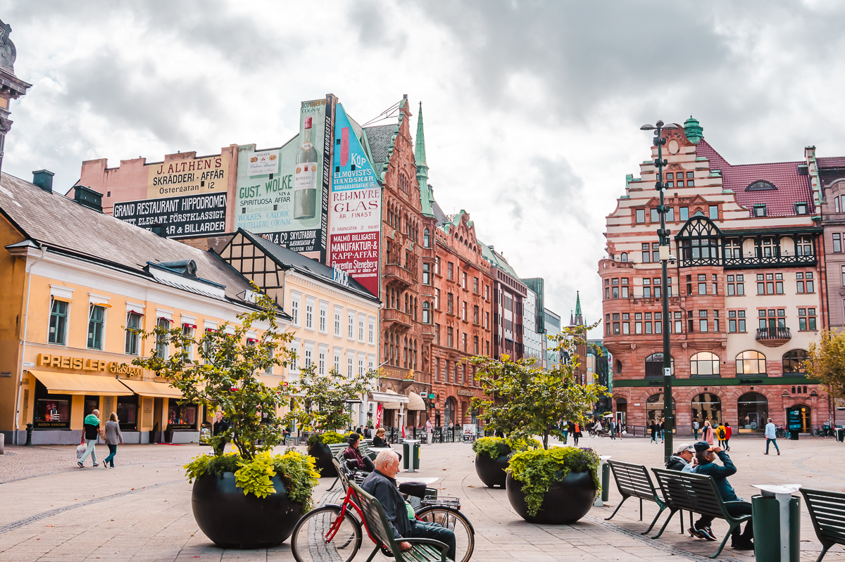 Historic buildings surrounding Malmo's main square