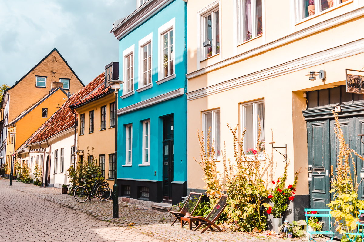 Blue and yellow houses in Jakob Nilsgatan in Malmo, Sweden