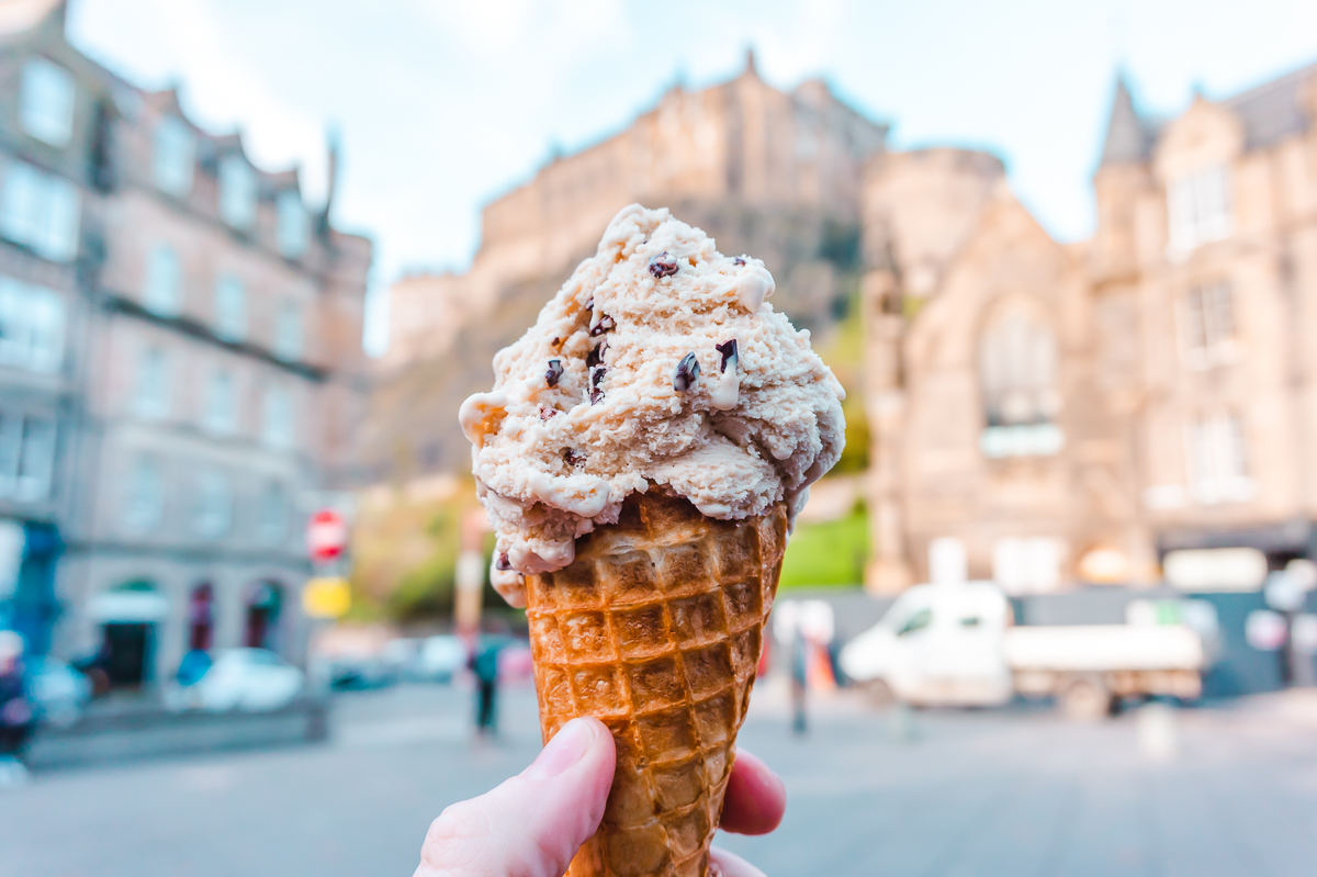 Ice cream from Mary's Milk Bar with Edinburgh Castle in the background.