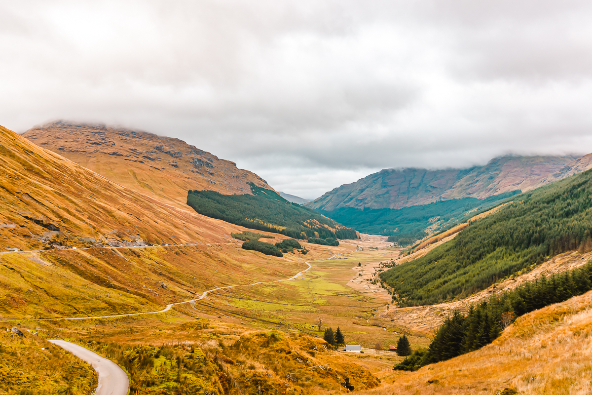 West Highland mountain and valley scenery in Scotland