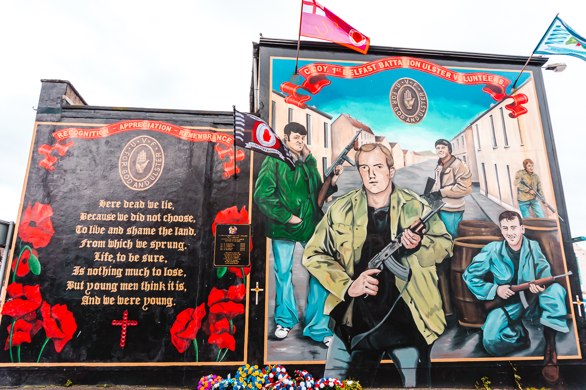 Memorial along Shankill Road in Belfast - do a political walking tour during your weekend in Belfast.