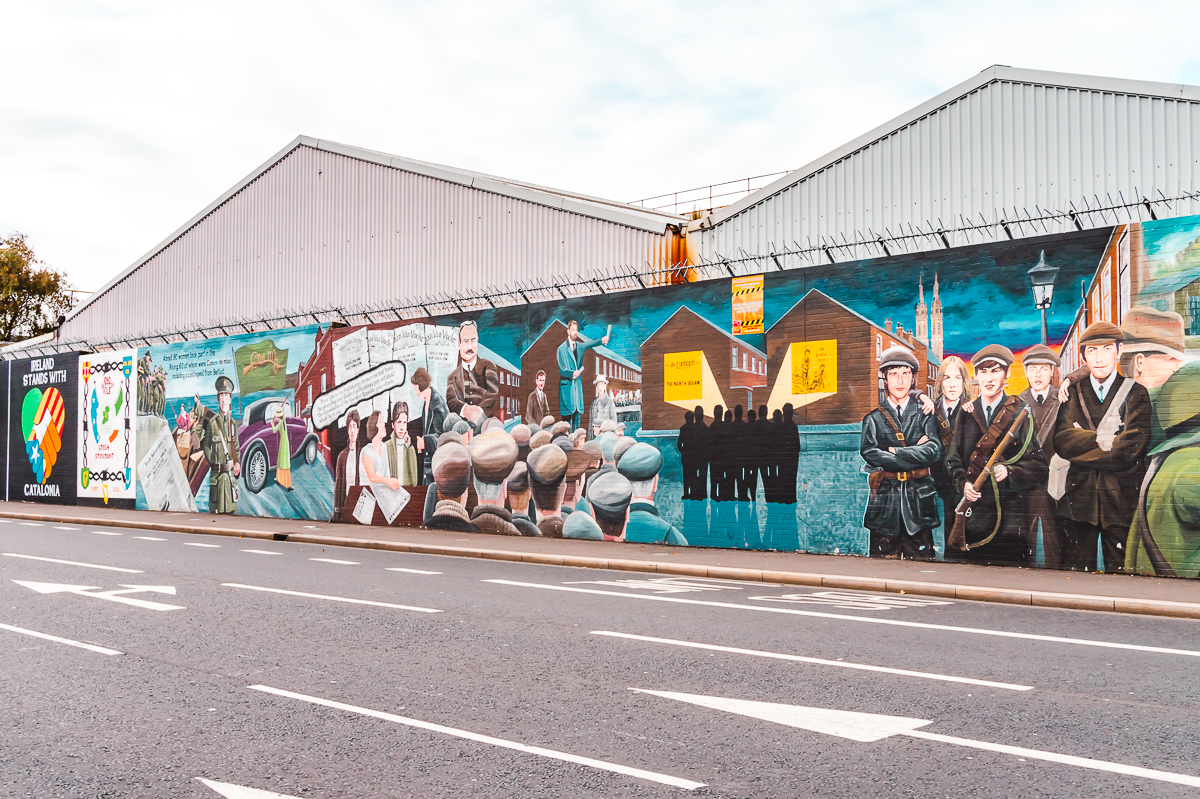 Politically-motivated murals along Falls Road in Belfast - do a political walking tour during your weekend in Belfast.