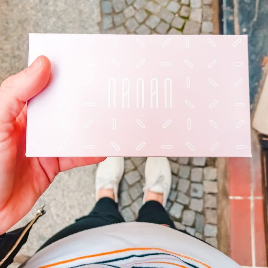 The pink box from Cukiernia NANAN in Wroclaw, Poland. Check out their desserts on your Wroclaw city break!