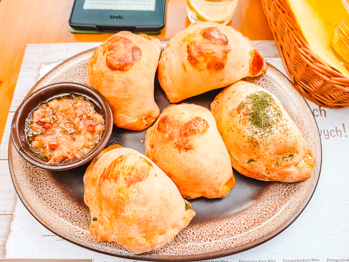Oven-baked pierogies in Wroclaw, Poland. Definitely try them on your Wroclaw city break.