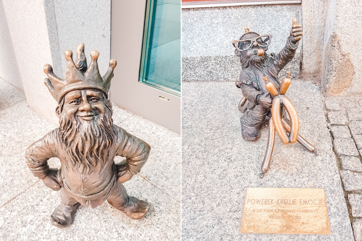 Funny gnome statues found on my Wroclaw city break