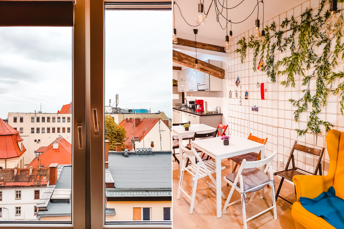 View and kitchen at TOGOTO Wroclaw Hostel, a great place to stay on a Wroclaw city break.