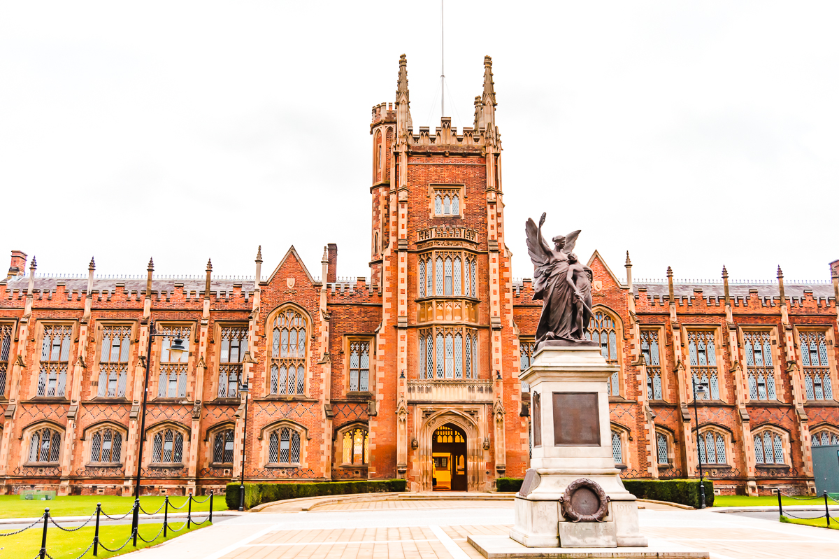 Historic red brick building at Queen's University in Belfast