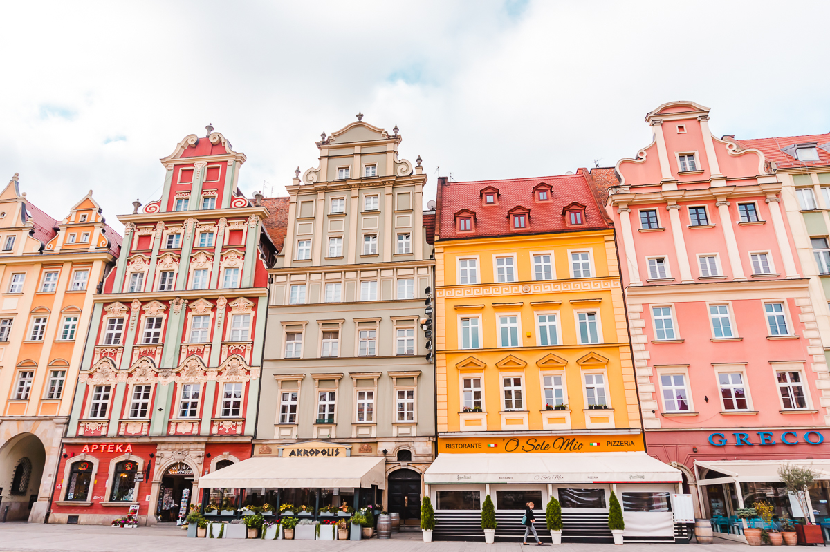 Colourful buildings in the Market Square in Wroclaw's Old Town.