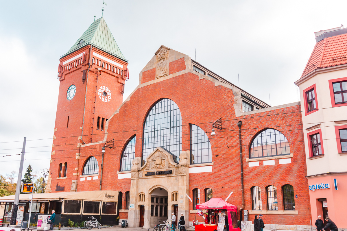 The brick exterior of the Market Hall in Wroclaw, Poland. Check it out on your weekend in Wroclaw.