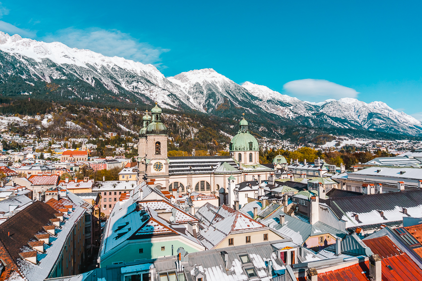 Innsbruck city views from the City Tower.