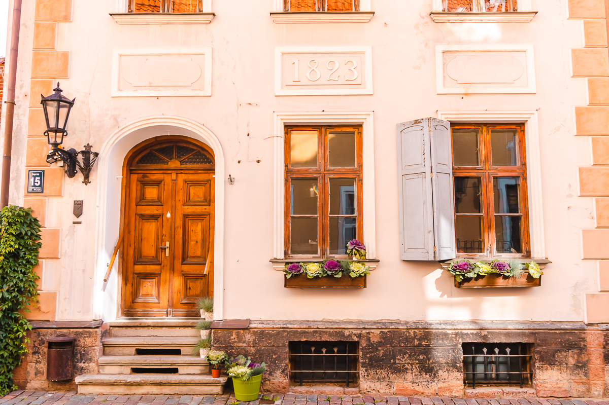 Exterior of cream building in the Old Town in Riga, Latvia.