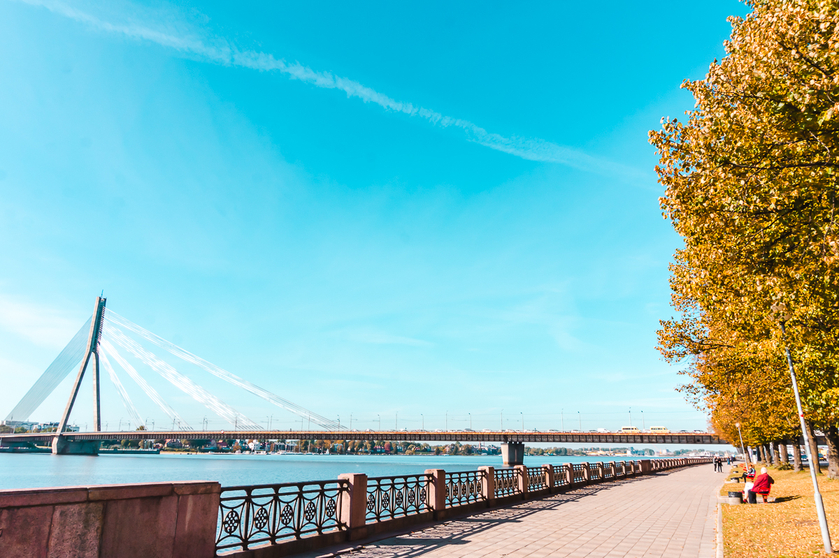 Walking path beside the river in Riga, Latvia.