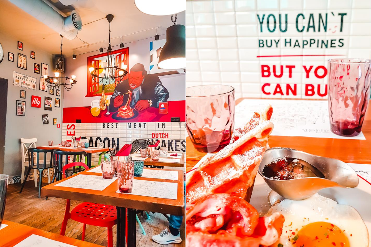 The interior and food at Street Fries Kitchen in Riga, Latvia. Head here for brunch during your weekend in Riga.