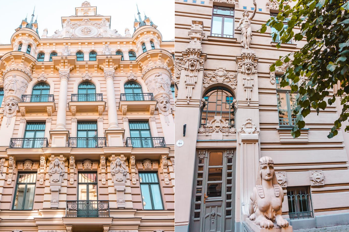 Art Nouveau architecture on Alberta Street in Riga, Latvia